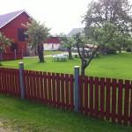 Gården och staketet som omgärdar vår fastighet.